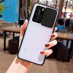 Coque Rebord Contour Silicone et Vitre Transparente Miroir Housse Etui N05 pour Huawei P40 Noir