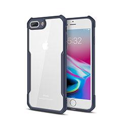 Coque Rebord Contour Silicone et Vitre Transparente Miroir Housse Etui P01 pour Apple iPhone 7 Plus Bleu