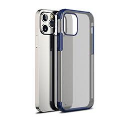 Coque Rebord Contour Silicone et Vitre Transparente Miroir Housse Etui pour Apple iPhone 12 Max Bleu
