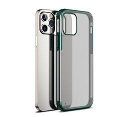 Coque Rebord Contour Silicone et Vitre Transparente Miroir Housse Etui pour Apple iPhone 12 Max Vert