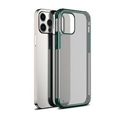 Coque Rebord Contour Silicone et Vitre Transparente Miroir Housse Etui pour Apple iPhone 12 Pro Vert