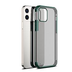 Coque Rebord Contour Silicone et Vitre Transparente Miroir Housse Etui pour Apple iPhone 12 Vert