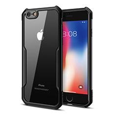 Coque Rebord Contour Silicone et Vitre Transparente Miroir Housse Etui pour Apple iPhone 6S Noir