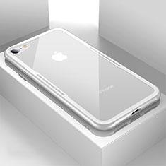 Coque Rebord Contour Silicone et Vitre Transparente Miroir Housse Etui pour Apple iPhone 7 Blanc