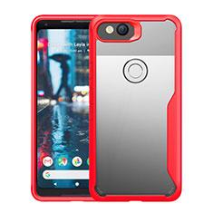 Coque Rebord Contour Silicone et Vitre Transparente Miroir Housse Etui pour Google Pixel 3 Rouge