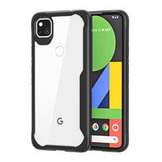 Coque Rebord Contour Silicone et Vitre Transparente Miroir Housse Etui pour Google Pixel 4a Noir