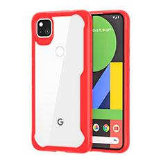 Coque Rebord Contour Silicone et Vitre Transparente Miroir Housse Etui pour Google Pixel 4a Rouge