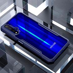 Coque Rebord Contour Silicone et Vitre Transparente Miroir Housse Etui pour Huawei Honor 20 Bleu