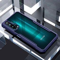 Coque Rebord Contour Silicone et Vitre Transparente Miroir Housse Etui pour Huawei Honor 20 Pro Bleu