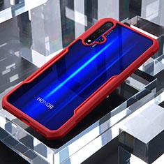Coque Rebord Contour Silicone et Vitre Transparente Miroir Housse Etui pour Huawei Honor 20 Rouge
