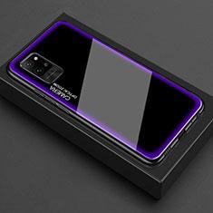 Coque Rebord Contour Silicone et Vitre Transparente Miroir Housse Etui pour Huawei Honor Play4 Pro 5G Violet