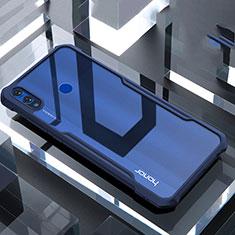 Coque Rebord Contour Silicone et Vitre Transparente Miroir Housse Etui pour Huawei Honor View 10 Lite Bleu