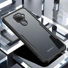 Coque Rebord Contour Silicone et Vitre Transparente Miroir Housse Etui pour Huawei Mate 30 Lite Noir