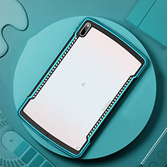 Coque Rebord Contour Silicone et Vitre Transparente Miroir Housse Etui pour Huawei MatePad Pro 5G 10.8 Cyan
