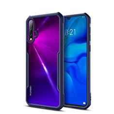 Coque Rebord Contour Silicone et Vitre Transparente Miroir Housse Etui pour Huawei Nova 5 Bleu