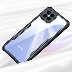 Coque Rebord Contour Silicone et Vitre Transparente Miroir Housse Etui pour Huawei Nova 8 SE 5G Noir