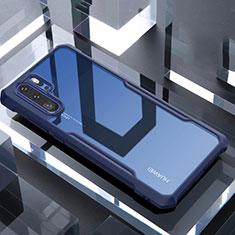 Coque Rebord Contour Silicone et Vitre Transparente Miroir Housse Etui pour Huawei P30 Pro Bleu