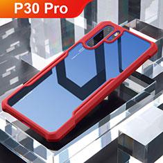 Coque Rebord Contour Silicone et Vitre Transparente Miroir Housse Etui pour Huawei P30 Pro Rouge