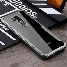 Coque Rebord Contour Silicone et Vitre Transparente Miroir Housse Etui pour LG G7 Gris