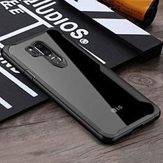 Coque Rebord Contour Silicone et Vitre Transparente Miroir Housse Etui pour LG G7 Noir