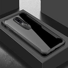 Coque Rebord Contour Silicone et Vitre Transparente Miroir Housse Etui pour OnePlus 6T Noir