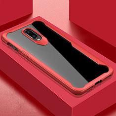 Coque Rebord Contour Silicone et Vitre Transparente Miroir Housse Etui pour OnePlus 6T Rouge