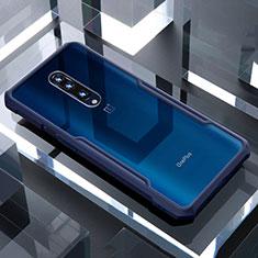 Coque Rebord Contour Silicone et Vitre Transparente Miroir Housse Etui pour OnePlus 7 Pro Bleu