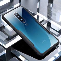 Coque Rebord Contour Silicone et Vitre Transparente Miroir Housse Etui pour OnePlus 7T Pro 5G Noir