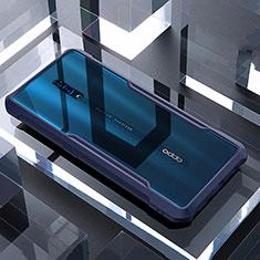 Coque Rebord Contour Silicone et Vitre Transparente Miroir Housse Etui pour Oppo Reno Bleu