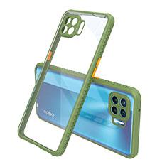 Coque Rebord Contour Silicone et Vitre Transparente Miroir Housse Etui pour Oppo Reno4 Lite Vert