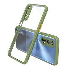 Coque Rebord Contour Silicone et Vitre Transparente Miroir Housse Etui pour Realme 7 Vert