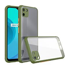 Coque Rebord Contour Silicone et Vitre Transparente Miroir Housse Etui pour Realme C11 Vert