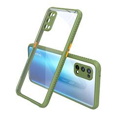 Coque Rebord Contour Silicone et Vitre Transparente Miroir Housse Etui pour Realme X7 5G Vert