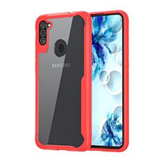 Coque Rebord Contour Silicone et Vitre Transparente Miroir Housse Etui pour Samsung Galaxy A11 Rouge