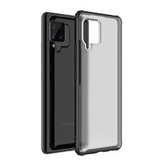 Coque Rebord Contour Silicone et Vitre Transparente Miroir Housse Etui pour Samsung Galaxy A42 5G Noir