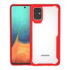 Coque Rebord Contour Silicone et Vitre Transparente Miroir Housse Etui pour Samsung Galaxy A71 5G Rouge