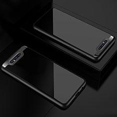 Coque Rebord Contour Silicone et Vitre Transparente Miroir Housse Etui pour Samsung Galaxy A80 Noir