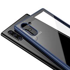 Coque Rebord Contour Silicone et Vitre Transparente Miroir Housse Etui pour Samsung Galaxy Note 10 Bleu