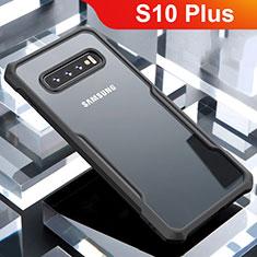 Coque Rebord Contour Silicone et Vitre Transparente Miroir Housse Etui pour Samsung Galaxy S10 Plus Noir