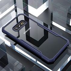 Coque Rebord Contour Silicone et Vitre Transparente Miroir Housse Etui pour Samsung Galaxy S10e Bleu