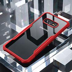 Coque Rebord Contour Silicone et Vitre Transparente Miroir Housse Etui pour Samsung Galaxy S10e Rouge