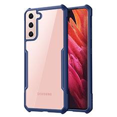 Coque Rebord Contour Silicone et Vitre Transparente Miroir Housse Etui pour Samsung Galaxy S21 Plus 5G Bleu