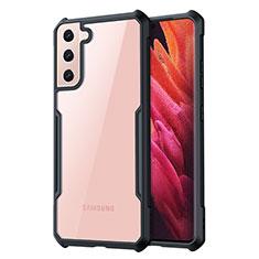 Coque Rebord Contour Silicone et Vitre Transparente Miroir Housse Etui pour Samsung Galaxy S21 Plus 5G Noir
