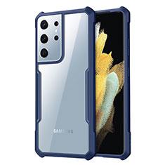 Coque Rebord Contour Silicone et Vitre Transparente Miroir Housse Etui pour Samsung Galaxy S21 Ultra 5G Bleu