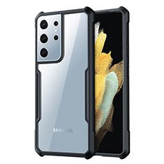 Coque Rebord Contour Silicone et Vitre Transparente Miroir Housse Etui pour Samsung Galaxy S21 Ultra 5G Noir