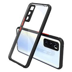 Coque Rebord Contour Silicone et Vitre Transparente Miroir Housse Etui pour Vivo V20 SE Noir
