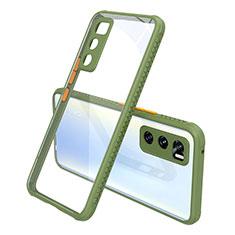 Coque Rebord Contour Silicone et Vitre Transparente Miroir Housse Etui pour Vivo V20 SE Vert Armee