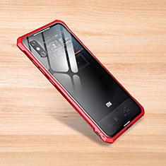 Coque Rebord Contour Silicone et Vitre Transparente Miroir Housse Etui pour Xiaomi Mi 8 Pro Global Version Rouge