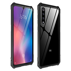 Coque Rebord Contour Silicone et Vitre Transparente Miroir Housse Etui pour Xiaomi Mi 9 Noir