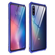 Coque Rebord Contour Silicone et Vitre Transparente Miroir Housse Etui pour Xiaomi Mi 9 Pro 5G Bleu